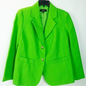 Talbots Woman Lime Green Textured Cotton Blazer 12